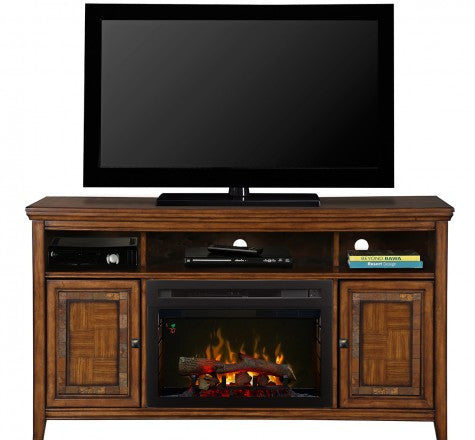 Dimplex Lynbrook Electric Fireplace Media Console in Lynbrook Brown - GDS25LD-1410LB