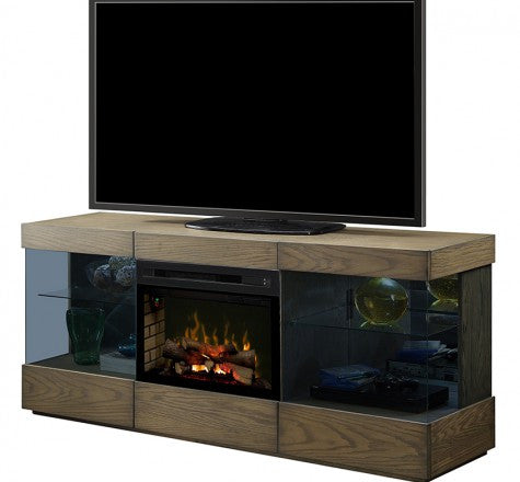 Dimplex Axel Electric Fireplace Media Console in Raked Sand W/ Logs - GDS25LD-1583RS