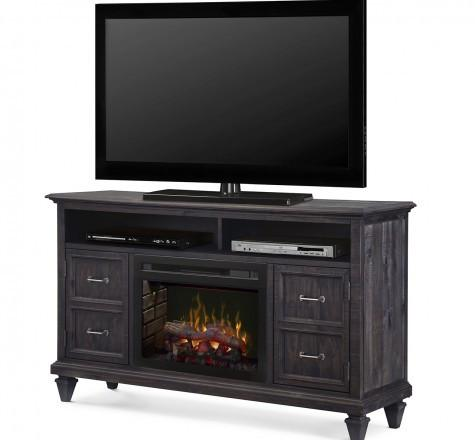 Dimplex Solomon Electric Fireplace Media Console w/ Logs in Weathered Grey GDS25LD-1594WG