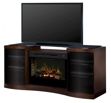 Acton Walnut Multi-Fire XD Electric Fireplace Media Console w/ Logs - GDS33HL-1246WAL