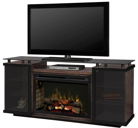 Aiden Electric Fireplace Media Console w/ Logs in Peppercorn - GDS33L4-1582PC