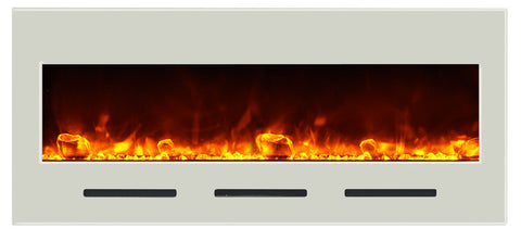 Amantii BI-50-FLUSHMT-WHTGLS Wall Mount Electric Fireplace