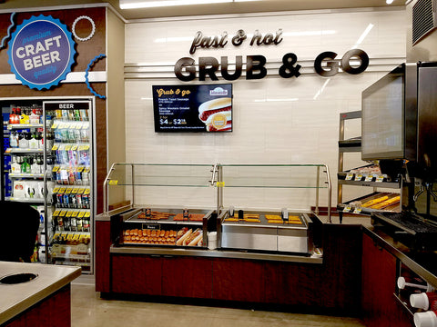 Marco cabinets with built-in hotdog rollers and sneeze guard for albertson's go