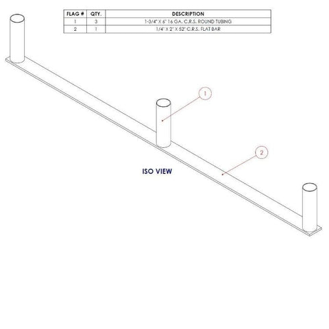 "Asset Protection | Retail Display - 52"" Double Lane Cart Corral Base"