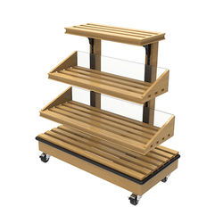 Oak Slatted Island Bakery Displays <br> BAK-438E3S-O