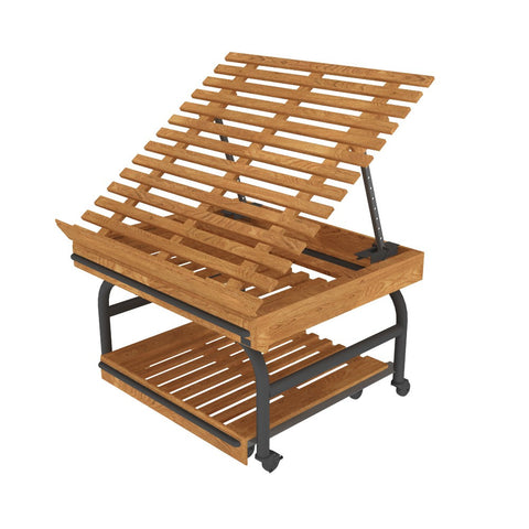 ET-03 Contemporary Oak European Table with Pull-Out Pallets