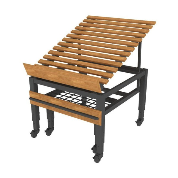 ET192 Oak European Tables with Pull-Out Wire Grid