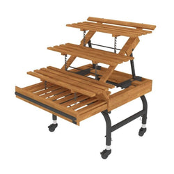 ET-06 3RS Contemporary Oak European Tables with Three Adjustable Shelves--4 Sizes Available