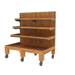 Oak Upright Produce Displays--14 Sizes Available