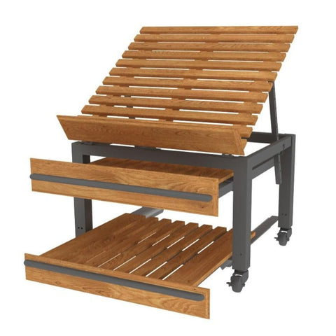 ET-190 Series Oak European Table with Pull-Out Pallets