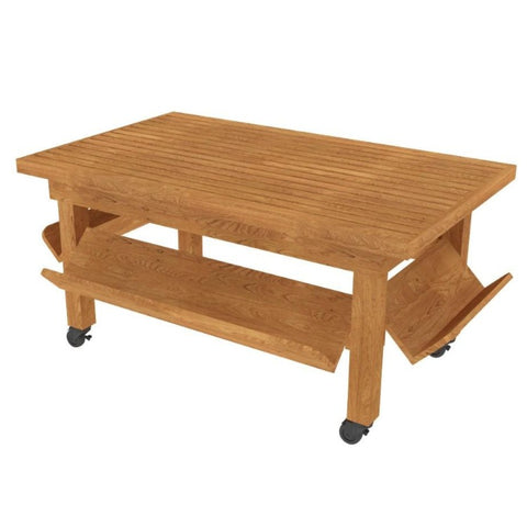 Oak Flat Bakery Table with Slatted Top