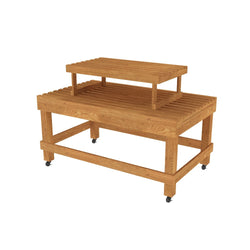 Two Tier Oak Flat Bakery Table <br> BAK-148