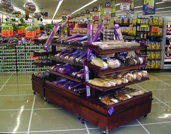 Oak Slatted Island Bakery Displays