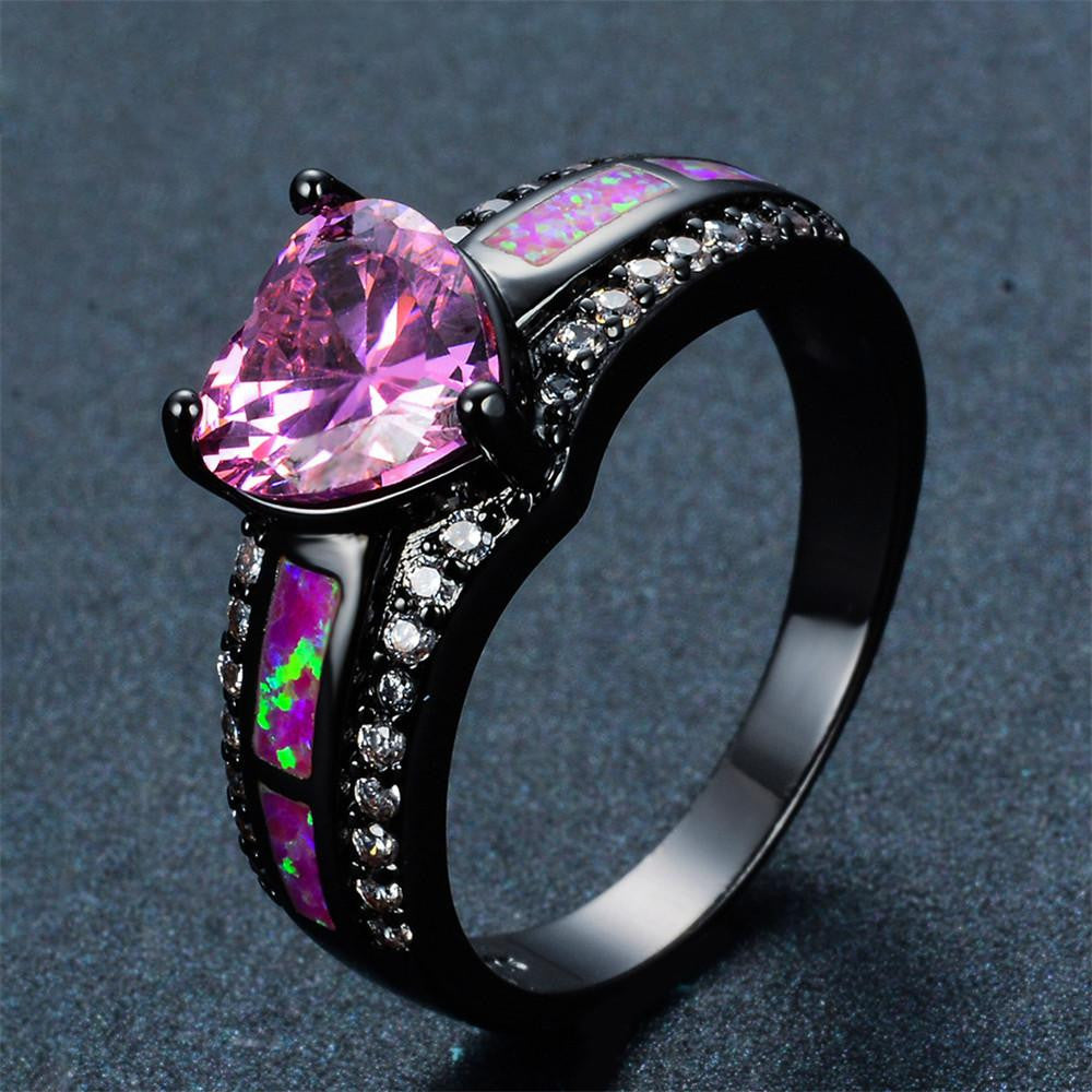 wood wedding itm ring purple il exotic titanium heart silver ebay mmnu fullxfull rings