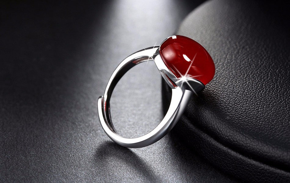 fashion golden stone color red natural item rose women agate pandulaso female wedding rings silver for