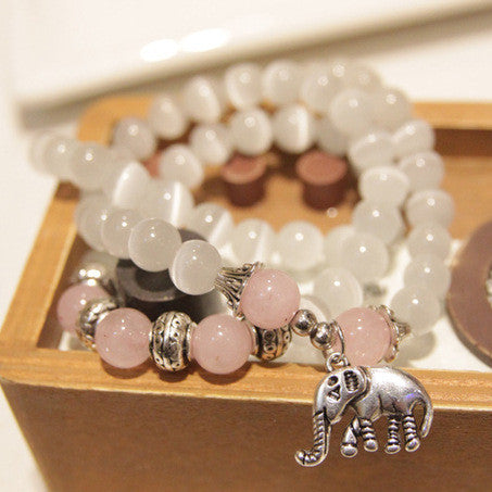 Natural pink and white opal beaded elephant pendantbracelet natural pink and white opal beaded elephant pendantbracelet aloadofball Images