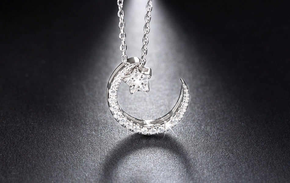 925 sterling silver moon star pendant necklace dealzonlinedirect 925 sterling silver moon star pendant necklace aloadofball Choice Image