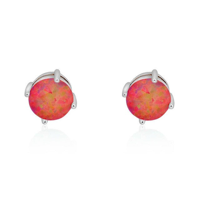 yellow silver stud in earrings sterling round jewelry or fire opal mexican