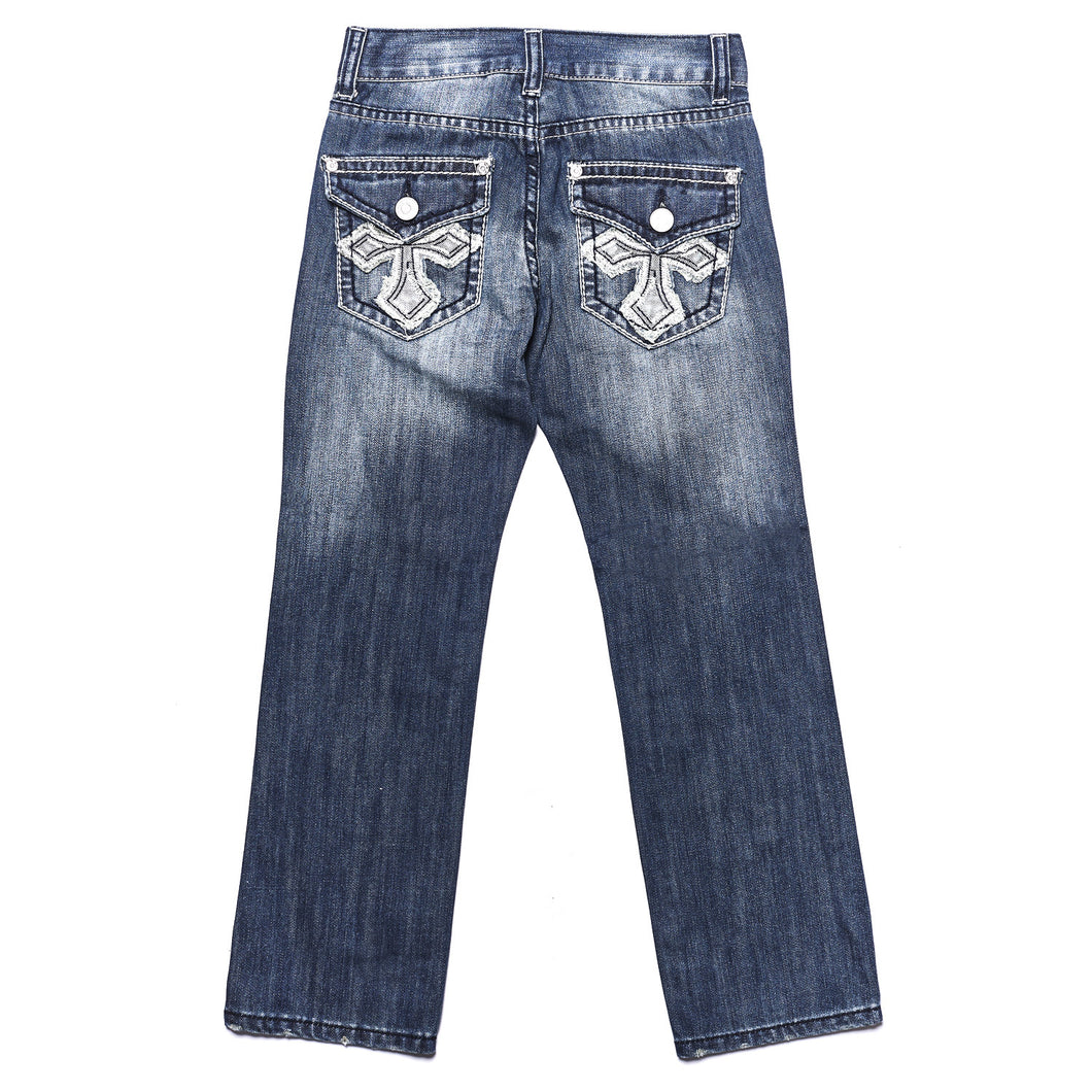 Tokyo Five Boy's Straight Leg Fashion Denim with Embellished Back Pockets