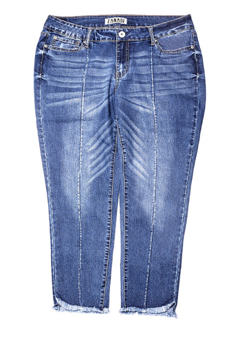 Roosevelt Wash Seamed Jean W Raw Hem Detail