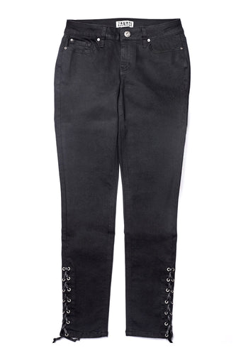 Night/Black Wash Lace Up Hem Jean
