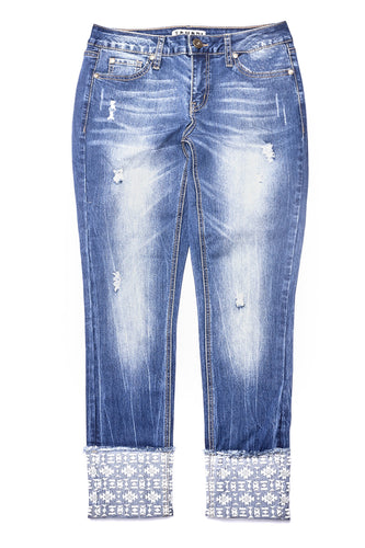 Aberdale Wash cuffed embroidered jean