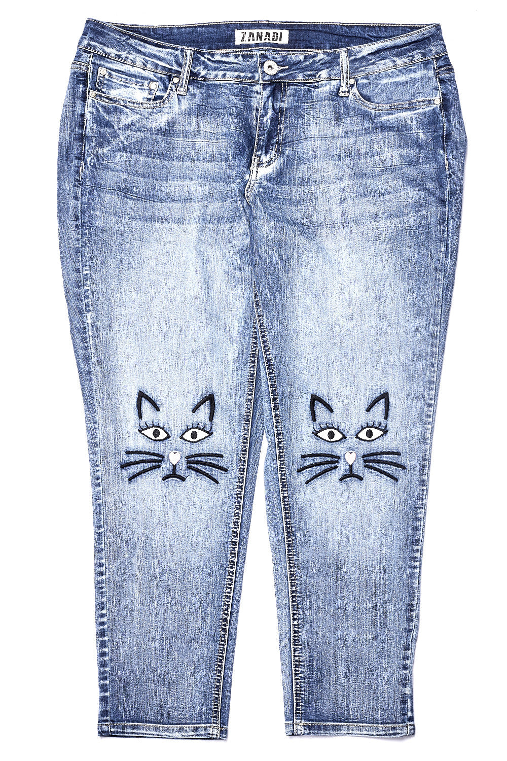 Mayson Wash Embroidered Knee Jean