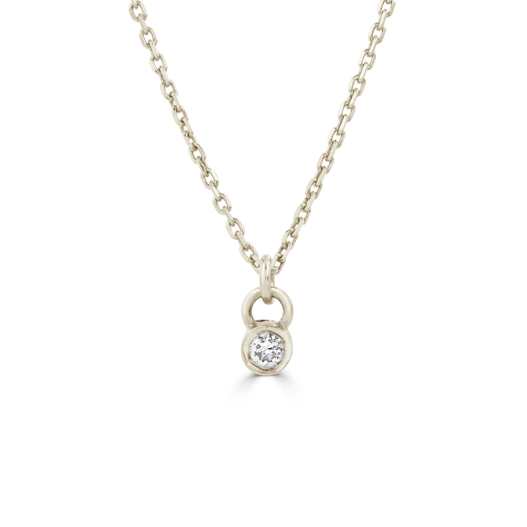 Tiny diamond necklace silver
