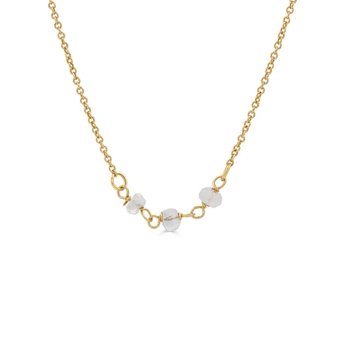 Gold necklace with white Moonstone Gemstones