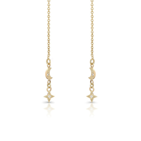 Star and moon dangle earring 9-karat solid
