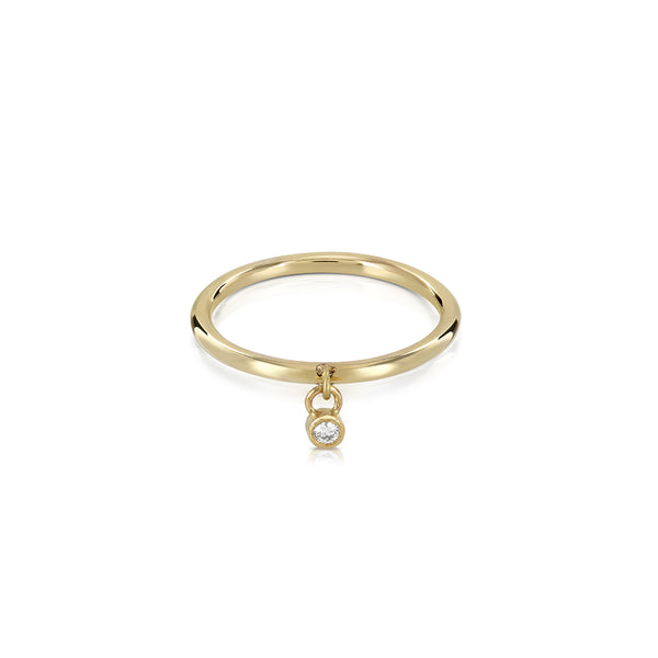 Dangle diamond gold ring