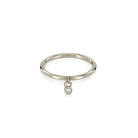 Dangle diamond silver ring
