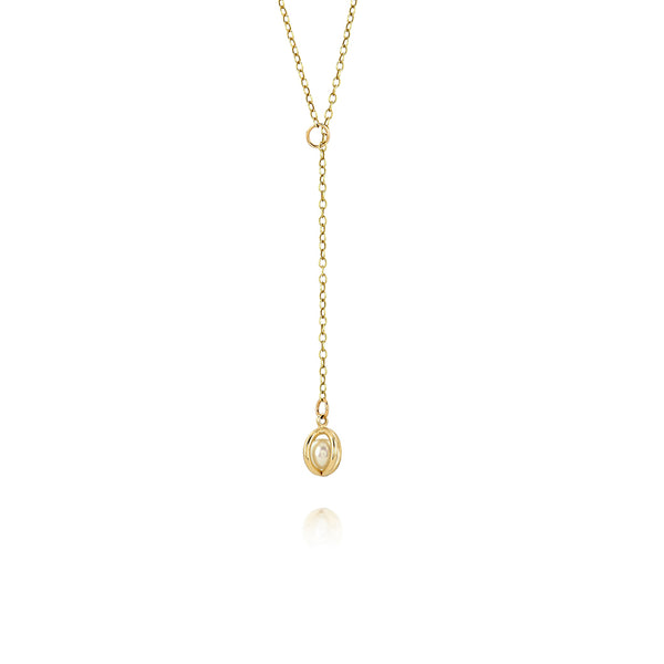 Gold pearl lariat necklace