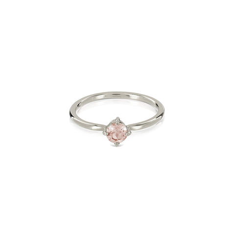 Princess morganite ring silver