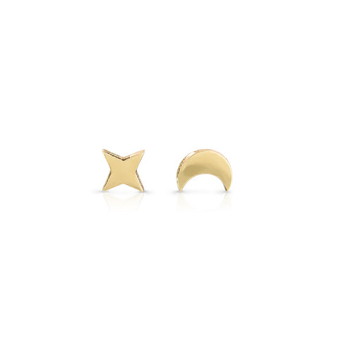 Star and moon studs (single)