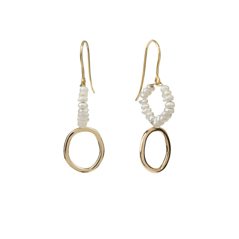 Seed pearl earrings gold