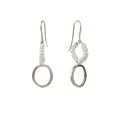 Seed pearl earrings silver