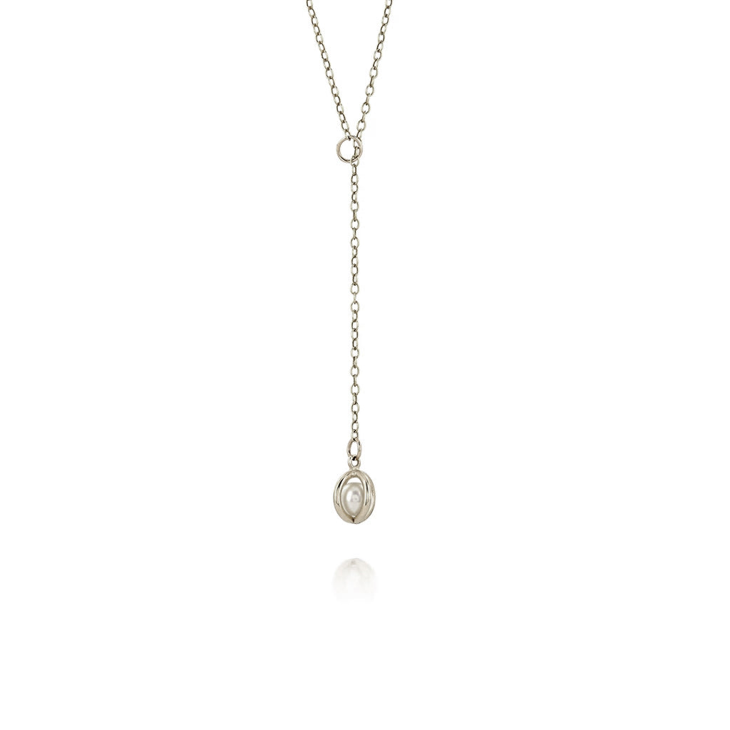 Silver Caged pearl lariat necklace