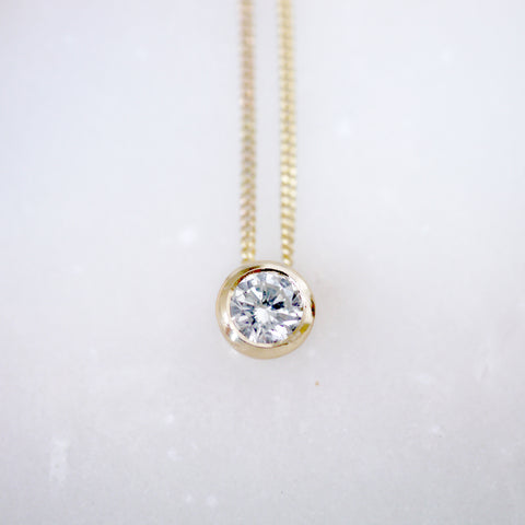 Diamond pendant on gold chain (Made to Order)