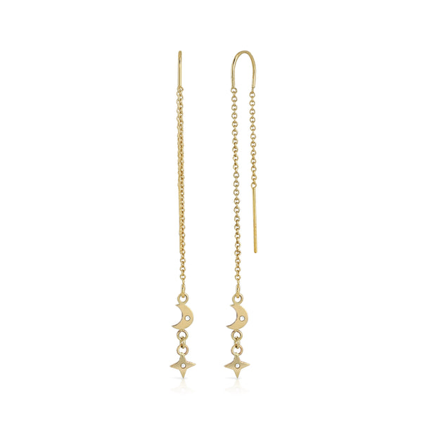 Star and moon dangle earring 9ct solid gold