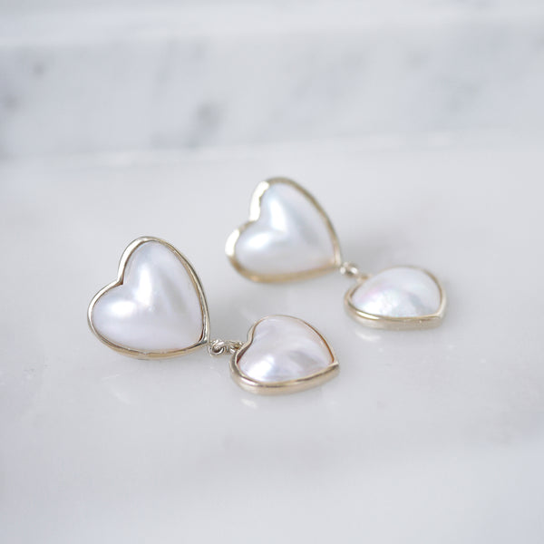 Mabe Heart pearl and gold earrings