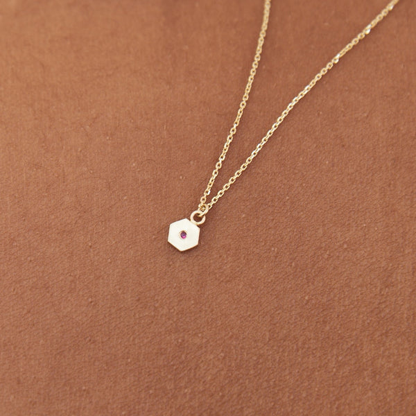 Hexagon charm necklace