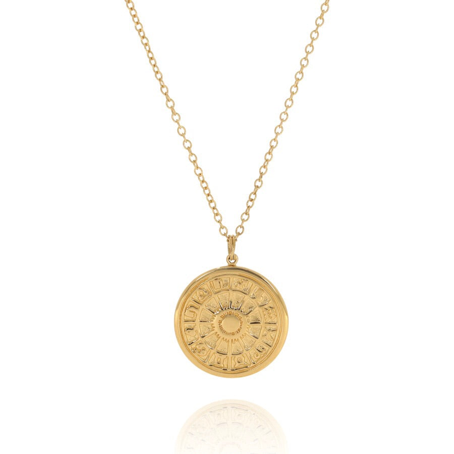 Zodiac wheel medallion gold