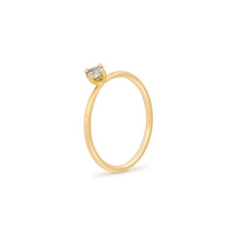 Salt and Pepper Tiny Diamond Solitaire Ring