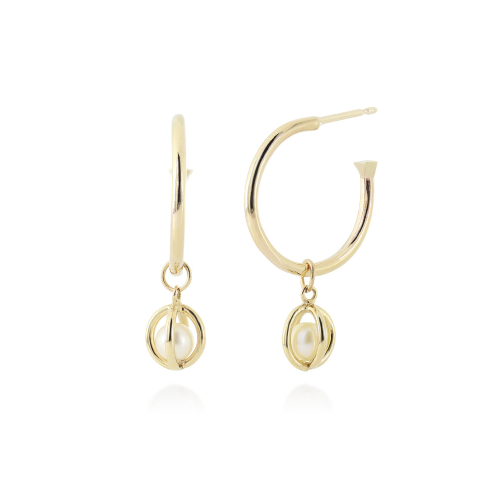 Gold pearl hoops
