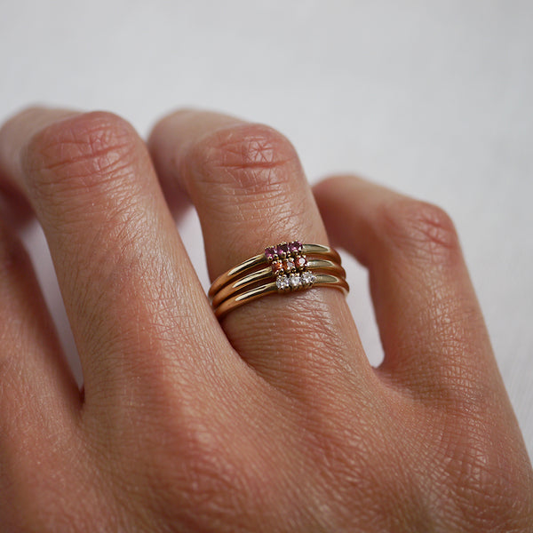 Trio ring - diamonds (Made to Order)