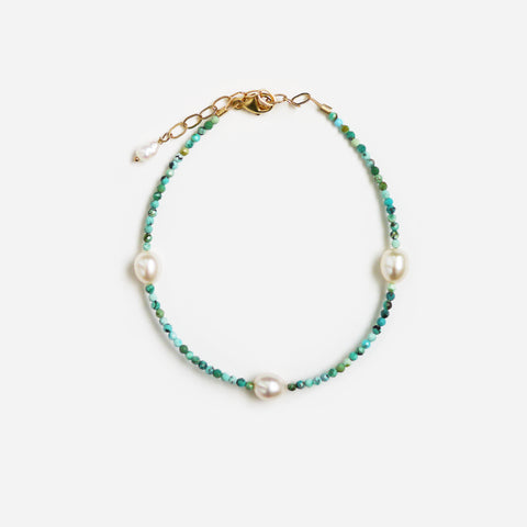 Turquoise & Pearl Bracelet or Anklet