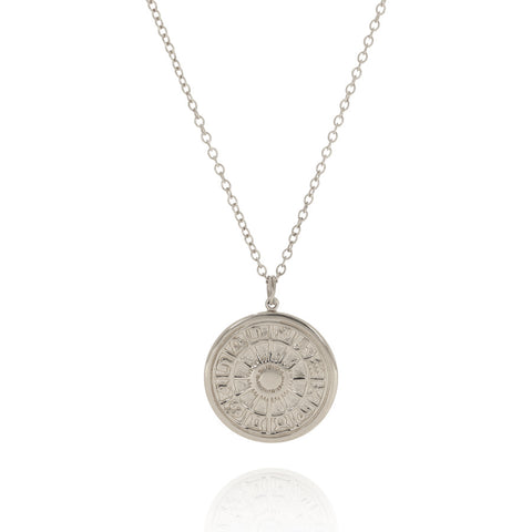 Zodiac wheel medallion silver