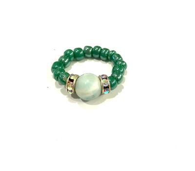 Aventurine & Beaded Elastic Ring