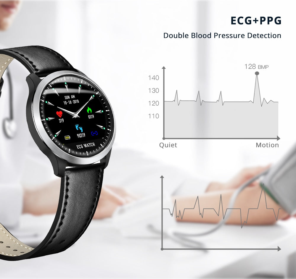 Smart watch fitness tracker plus [ECG PPG] electrocardiogram, heart rate, blood pressure monitor